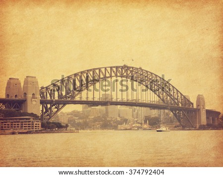 Sydney Harbour Bridge  in retro style, Australia.  Added paper texture. Toned image - stock photo