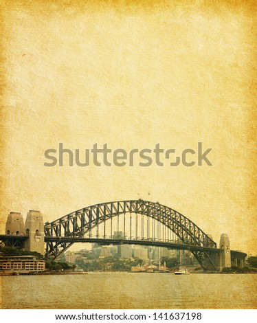Sydney Harbour Bridge  in retro  style, Australia. paper texture - stock photo