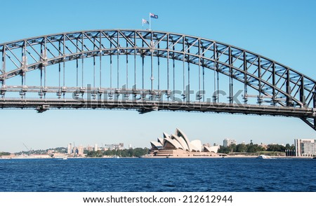 Sydney Harbour Bridge on a beautiful winter evening. - stock photo