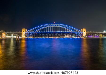 Sydney Harbour Bridge on Vivid Sydney - stock photo