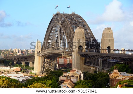 Sydney Harbour Bridge viewed from Observatory Hill - stock photo