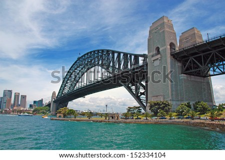 Sydney Harbour Bridge with City Skyline, Sydney, Australia - stock photo