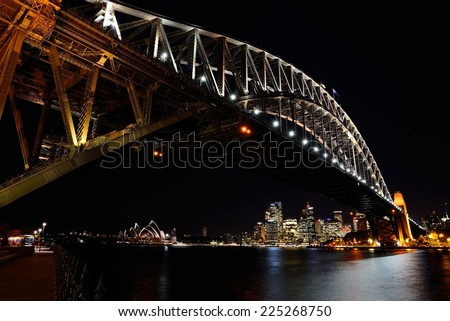 Sydney Harbour by night - stock photo