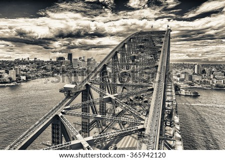 Sydney Harbour from helicopter on a beautiful day. - stock photo