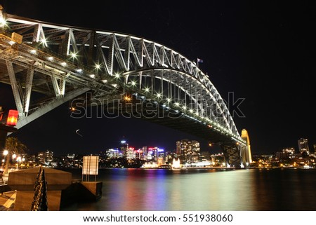 Sydney Harbour night time Panorama with bridge  in North Sydney, Australia