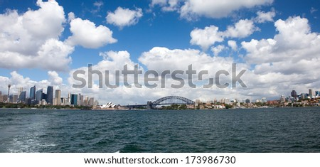Sydney Harbour Panorama - View from the south-eastern pylon containing the tourist lookout towards the CBD and the Opera House  - stock photo