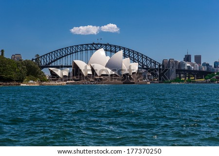 Sydney Harbour, Sydney, Australia - October 13 , 2013 : Sydney Opera House and Harbour Bridge looking out from the Royal Botanical Gardens.
