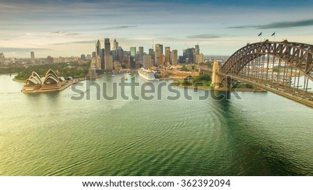 Sydney Harbour view from helicopter. - stock photo