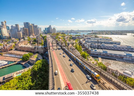 Sydney highway and subway, Australia. View from the Pylon Lookout located the southern eastern end of the Sydney Harbour Bridge. - stock photo