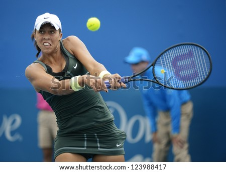 SYDNEY - JAN 7: Madison Keys from USA hits a backhand during her first round match in the APIA Sydney Tennis International. Sydney January 7, 2013.