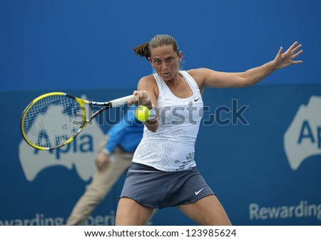 SYDNEY - JAN 8: Roberta Vinci from Italy hits a forehand during her second round match in the APIA Sydney Tennis International. Sydney January 8, 2013.