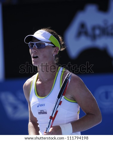 SYDNEY - JAN 9: Sam Stosur in action at the APIA Tennis International. Sydney - January 9, 2012 - stock photo