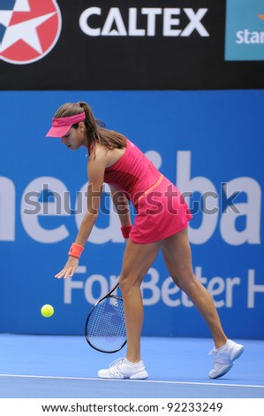 SYDNEY - JAN 8: Serbian Ana Ivanovic prepares to serve during her first round match in the APIA Tennis International. Sydney - January 8, 2012