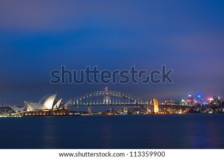 SYDNEY - JANUARY 30: The Iconic Sydney Opera House is a multi-venue performing arts centre also containing bars and outdoor restaurants. January 30, 2012 in Sydney, Australia. - stock photo