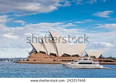 SYDNEY - JANUARY 08: The Iconic Sydney Opera House is a multi-venue performing arts centre also containing bars and outdoor restaurants. January 08, 2014 in Sydney, Australia.  - stock photo