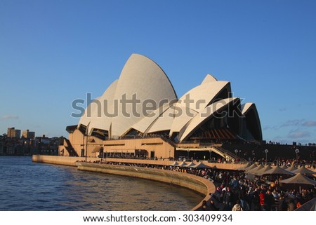SYDNEY, JULY 3: Close up view of Sydney Opera House on July 3,2015 in Sydney, Australia. The Opera House is Unesco World Heritage Site and one of the world's famous landmarks. - stock photo