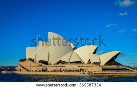 SYDNEY - JULY 5: Sydney Opera House view on July 5, 2014. in Sydney, Australia. The Sydney Opera House is a famous arts center. It was designed by Danish architect Jorn Utzon, finally opening in 1973.