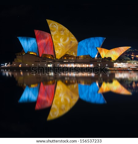 SYDNEY - July 10:: Various artists project their designs onto the Sydney Opera House during the Vivid Sydney Festival july 10, 2010 in Sydney, Australia.