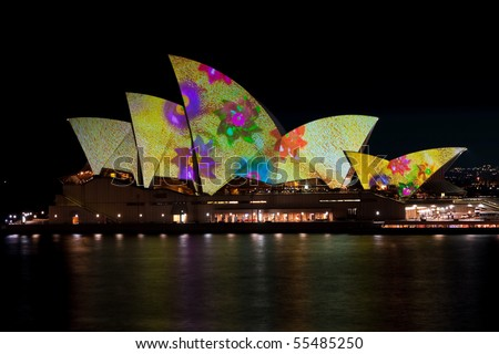 SYDNEY - JUNE 10: New York artist, Laurie Anderson, projects her designs onto the Sydney Opera House during the Sydney Vivid Festival June 10, 2010 in Sydney, Australia.