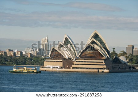 SYDNEY - JUNE 26: Sydney Opera House view on June 26, 2015 in Sydney, Australia. The Sydney Opera House is a famous arts center. It was designed by Danish architect Jorn Utzon.