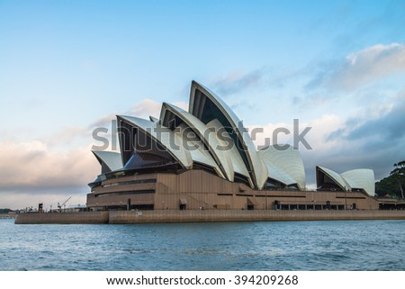 SYDNEY - MARCH 14: Close up view of the iconic Sydney Opera House on March 14, 2016 in Sydney, Australia., 2016 in Sydney, Australia.