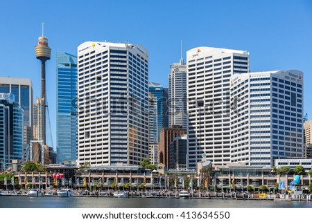 SYDNEY - MARCH 31: Darling Harbour adjacent to the city centre of Sydney is an area of entertainment facilities and a pedestrian walkway. March 31, 2016 in Sydney, Australia. - stock photo