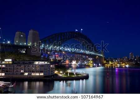 SYDNEY - MARCH 26:Night view of Sydney Harbour Bridge in Sydney, Australia on March 26,2012. The Harbour Bridge is the world's widest long-span bridge.