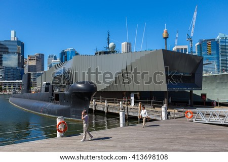 SYDNEY - MARCH 31: The Australian National Maritime Museum (ANMM) on March 31, 2016 in Sydney. The museum is a federally-operated maritime museum located in Darling Harbour, Sydney. - stock photo
