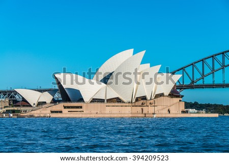 SYDNEY - MARCH 8: View of the iconic Sydney Opera House and the Harbour Bridge on March 8, 2016 in Sydney, Australia.