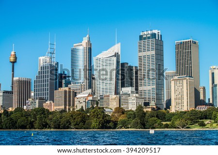 SYDNEY - MARCH 8: View of the Sydney's skyline during a bright and sunny day on March 8, 2016 in Sydney, Australia.
