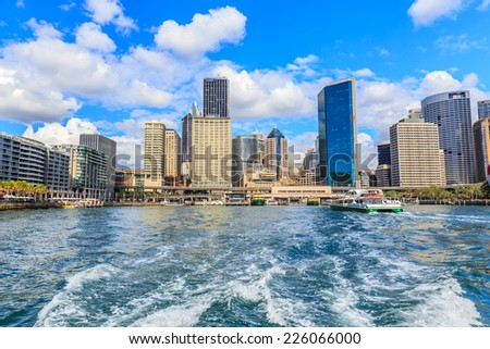 SYDNEY - MAY 10: Cityscape of Sydney Harbour on May 10, 2014 in Sydney, Australia. It is the maritime hub for the city of Sydney, Nova Scotia. Located on the South Arm.