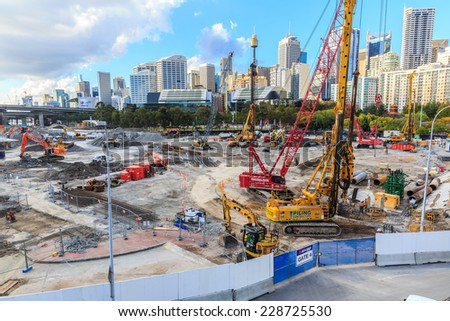 SYDNEY - MAY 12: Construction site at Darling Harbour on May 12, 2014 in Sydney. The harbour is a large recreational and pedestrian precinct that is situated on western outskirts of the Sydney. - stock photo