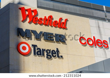 SYDNEY - MAY 15:Department stores logo on May 15, 14 in Bondai, Over the years through 2014-15, industry revenue in Australia is forecast to contract at an annualised 1.7% to $19.0 billion. - stock photo
