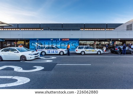SYDNEY- MAY 17 : Departure terminal of Sydney (Kingsford Smith) Airport, Sydney, Australia on May 17, 2014. It is the only major airport serving Sydney, and is a primary hub for Qantas. - stock photo