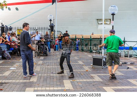 SYDNEY - MAY 10: Street  show at Sydney harbour on May 10, 14 in Sydney. Sydney is the state capital of New South Wales and the most populous city in Australia. - stock photo
