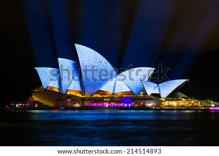 SYDNEY - MAY 31, 2014: Sydney Opera House shown during Vivid Sydney: A Festival of Light, Music & Ideas in Sydney, Australia