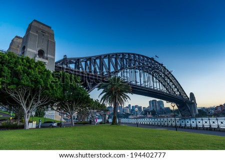 SYDNEY - MAY 12: The Harbour Bridge in Sydney, Australia on May 12, 2014.