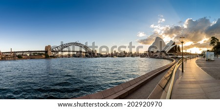 SYDNEY - MAY 12: The Sydney Opera House, viewed from Circular Quay in Sydney, Australia on May 12, 2014. It was designed by Danish architect Jorn Utzon. - stock photo