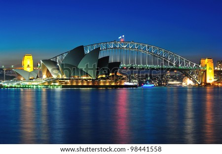 SYDNEY - MAY 21: The Sydney Opera House, viewed from Mrs Macquarie's Chair in Sydney, Australia, on May 21, 2011, was designed by Danish architect Jorn Utzon. - stock photo