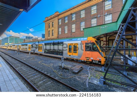SYDNEY - MAY 12: Train at Central Station on May 12, 2014 in Sydney. Sydney Trains is owned by the Government of New South Wales and operates all passenger rail services in metropolitan Sydney.
