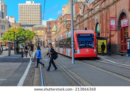 SYDNEY - MAY 12: Train at Paddy's market Station on May 12, 14 in Sydney. Sydney Trains is owned by the Government of New South Wales and operates all passenger rail services in metropolitan Sydney. - stock photo