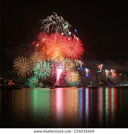 Sydney New Years Eve Fireworks - stock photo