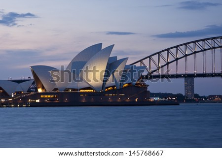 SYDNEY - NOV 7: The Sydney Opera House, viewed from Circular Quay in Sydney, Australia on November 7, 2011. It was designed by Danish architect Jorn Utzon.