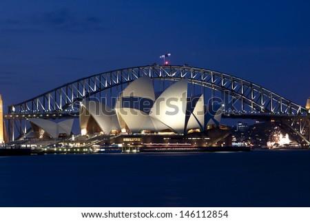 SYDNEY - NOV 7: The Sydney Opera House, viewed from Circular Quay in Sydney, Australia on November 7, 2011. It was designed by Danish architect Jorn Utzon. - stock photo