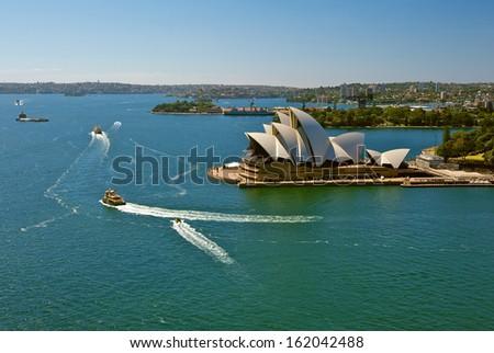 SYDNEY - NOVEMBER 6: Sydney Opera House view on November 6, 2013 in Sydney, Australia. The Sydney Opera House is a famous arts center. It was designed by Danish architect Jorn Utzon.  - stock photo