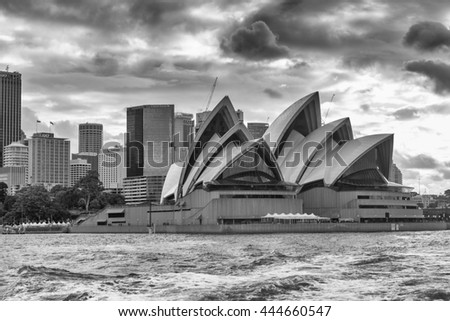SYDNEY - NOVEMBER 8, 2015: The Iconic Sydney Opera House is a multi-venue performing arts centre also containing bars and outdoor restaurants.