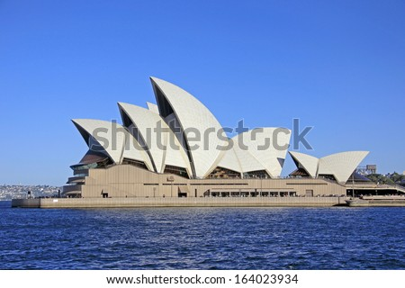SYDNEY - NOVEMBER 22: The Iconic Sydney Opera House is a multi-venue performing  arts centre also containing bars and outdoor restaurants. November 22, 2013 in Sydney, Australia. - stock photo