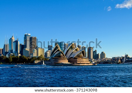 SYDNEY, NSW / AUSTRALIA - JULY 5, 2014: View from ferry, City CBD  on July 5, 2014. in Sydney, Australia.