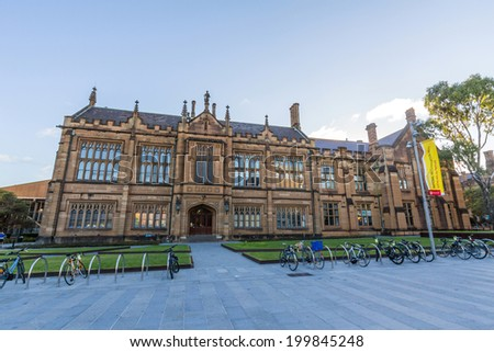 SYDNEY, NSW, AUSTRALIA - May 30, 2014: Anderson Stuart Building at Sydney University, Australia. Five Nobel or Crafoord laureates have been affiliated with the university as graduates and faculty. - stock photo