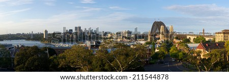 SYDNEY, NSW/Australia-May 12 : Panorama view of Sydney Harbour Bridge on 12 May 2012.